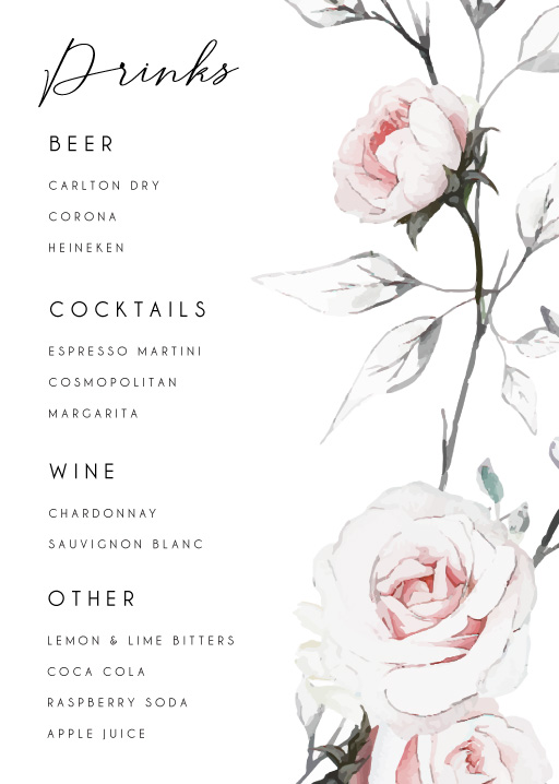 Florescence - Wedding Menu