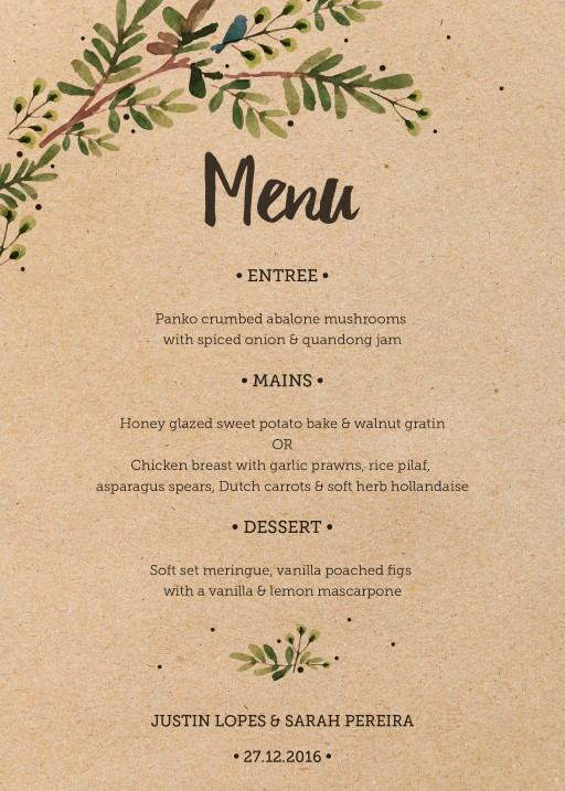 Rustic Garden - Menu Card