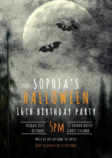Dark Night - Birthday Invitations