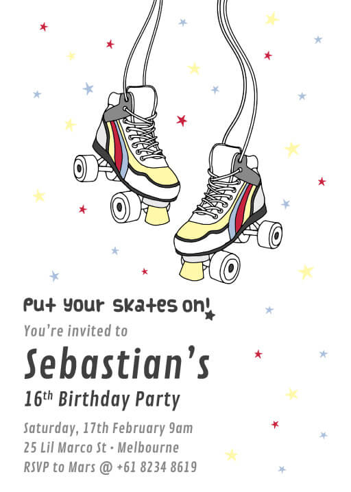 Roller Skate - Birthday Invitations