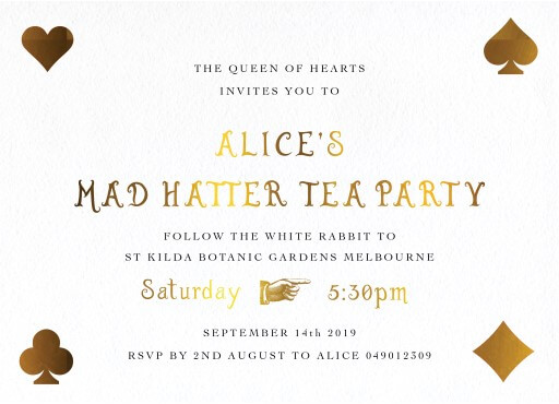 Mad Hatter Tea Party - Birthday Invitations