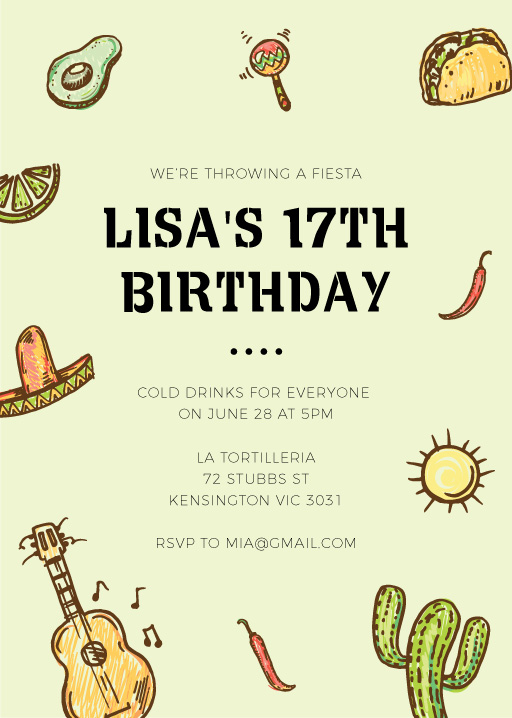 Mexicano - Birthday Invitations