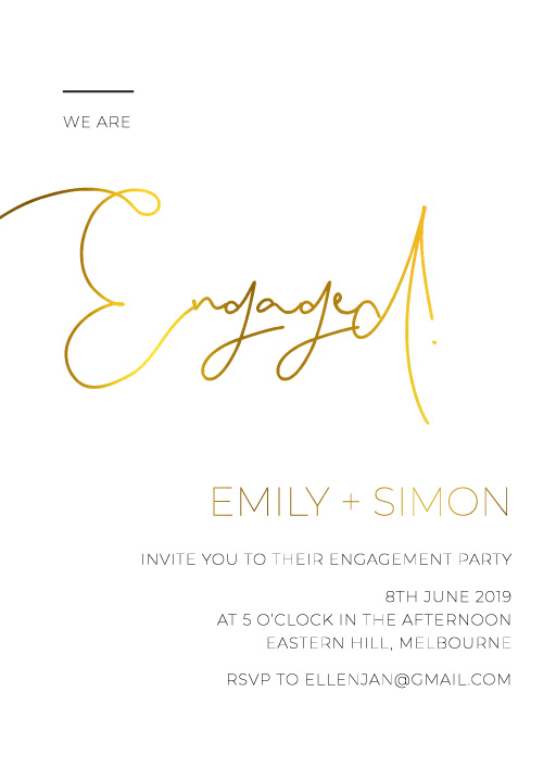 Minimalist Black and White - Engagement Invitations