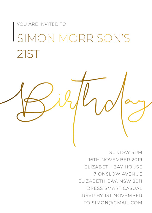 Minimalist Black and white - Birthday Invitations