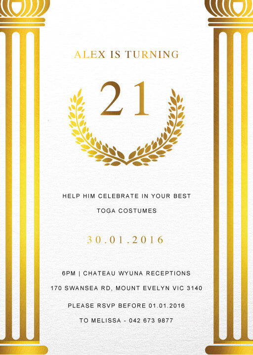 Toga - Birthday Invitations