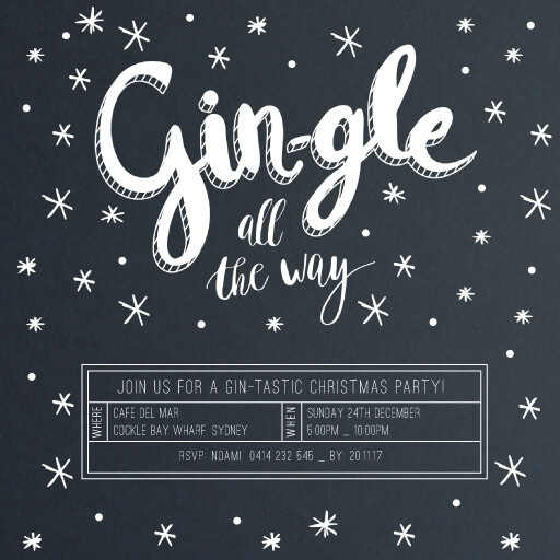 Gin - christmas party invitations