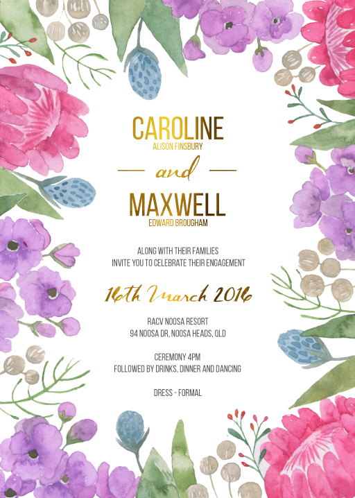 Native Bloom - Engagement Invitations