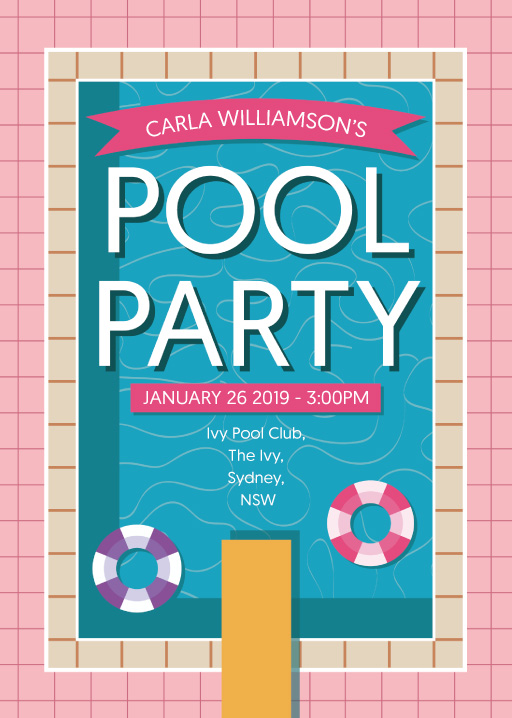 Modernist Pool Party - Birthday Invitations