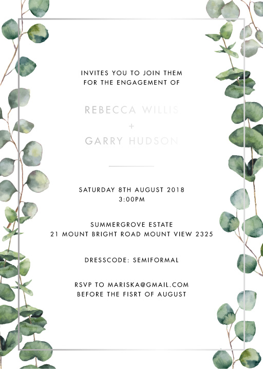 Eucalypt Estate - engagement invitations