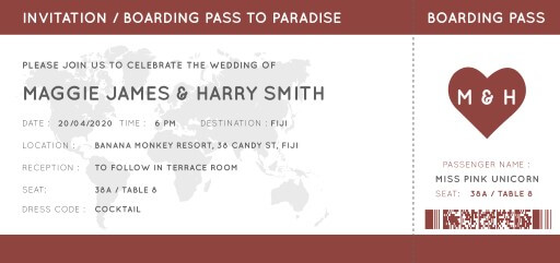 Blue Paradise Passport Invitation - Wedding Invitations