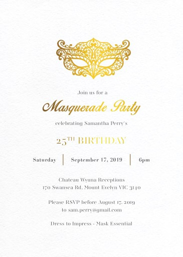 Masque - Birthday Invitations