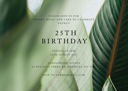 Tropical Leaves - Birthday Invitations