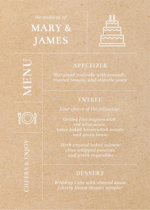 Type on Line - Menu Card