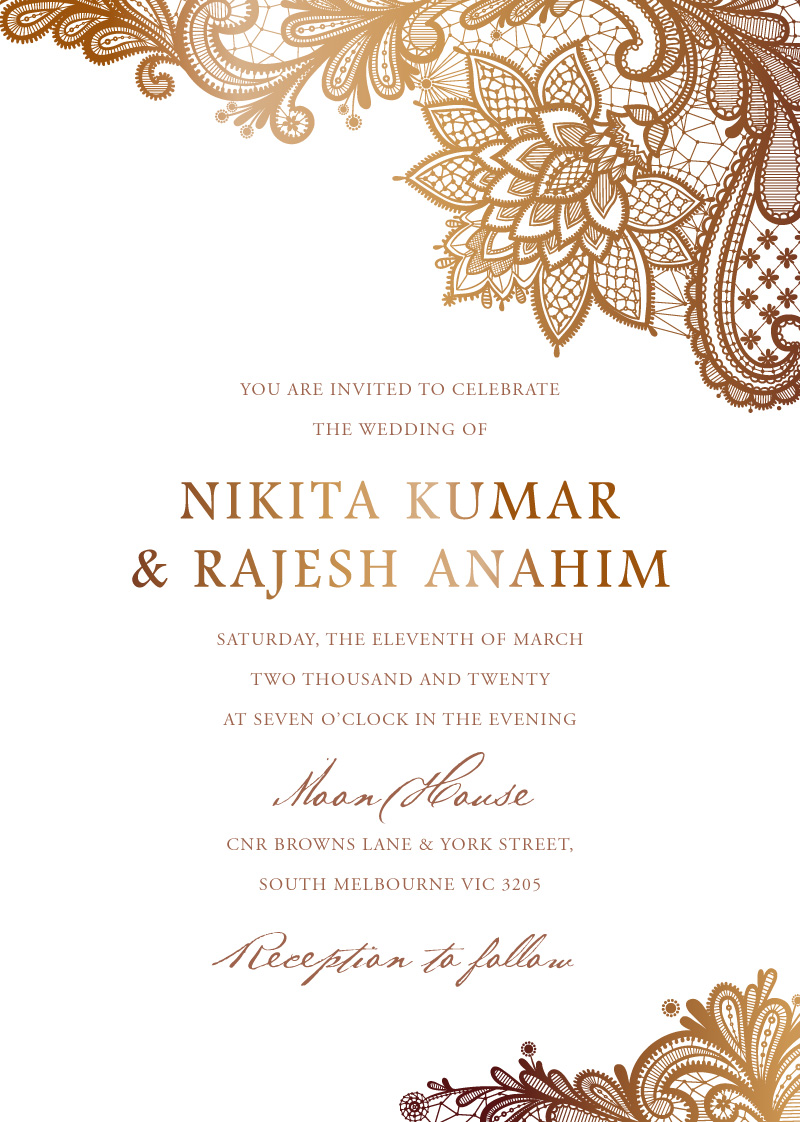 Tirumana Henna Real Foil Wedding Invitations