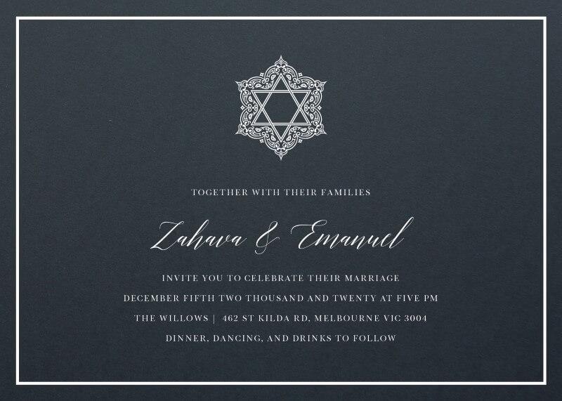 Simcha White Ink Wedding Invitations