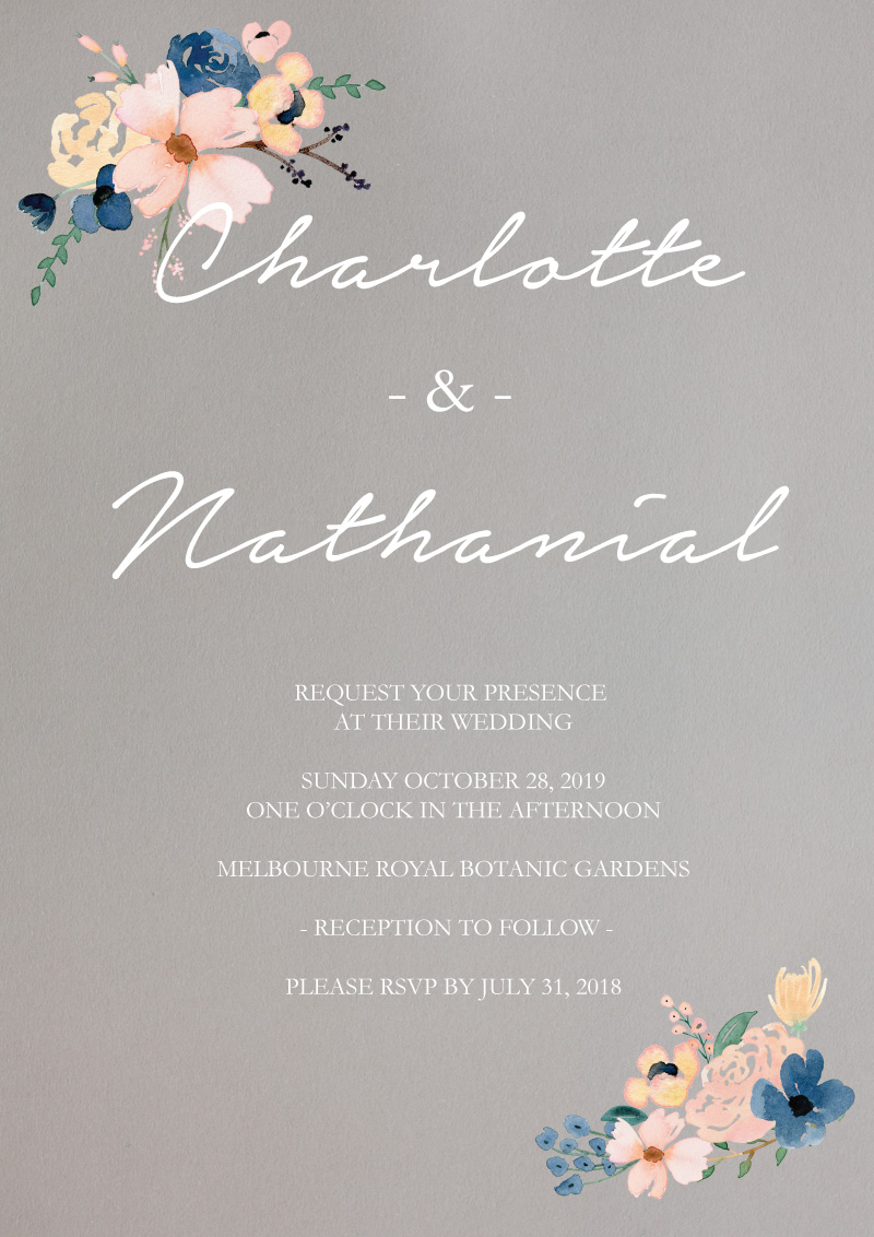 Blushing Blue - Wedding Invitations