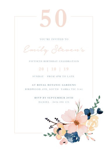 Blushing Blue Dinner Invitation - Birthday Invitations