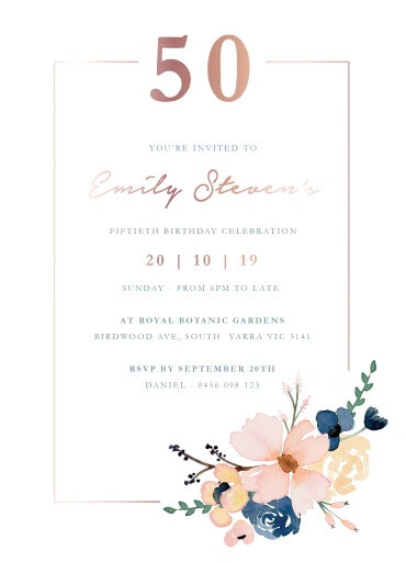 Blushing Blue - Birthday Invitations