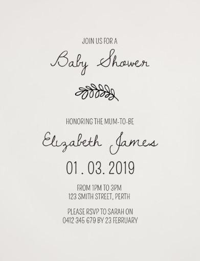 Blushing Leaves - baby shower invitations