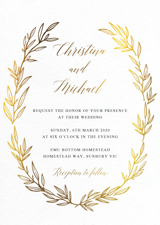 Athena's Crown - Wedding Invitations