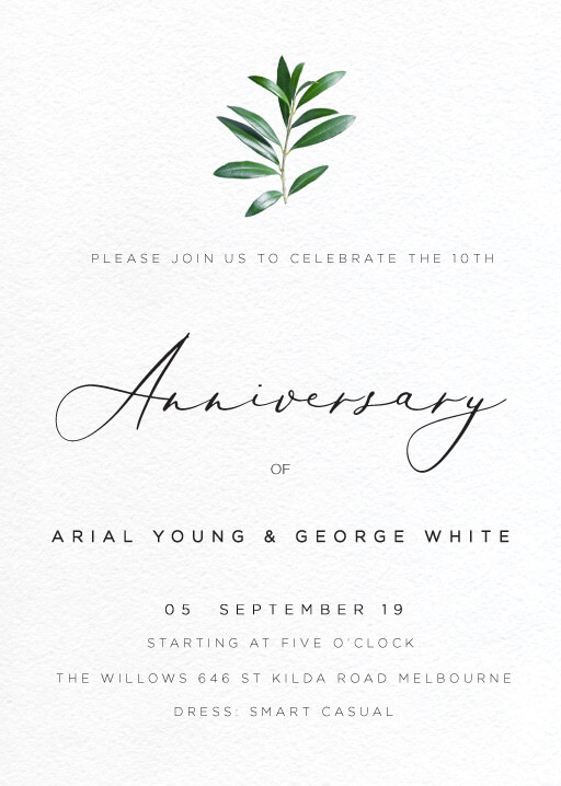 Olive Anniversary - Wedding Anniversary Invitations