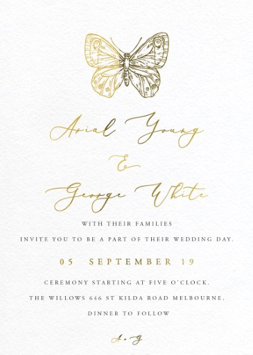 Golden Butterfly - wedding invitations