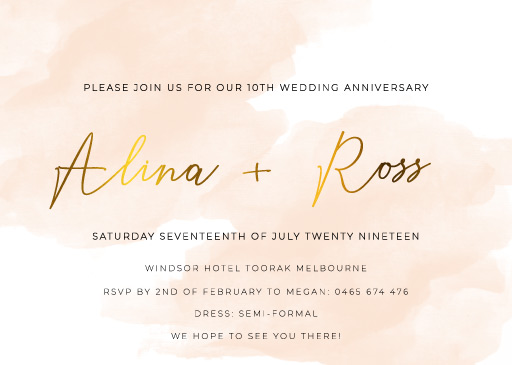 Rosey - Wedding Anniversary Invitations