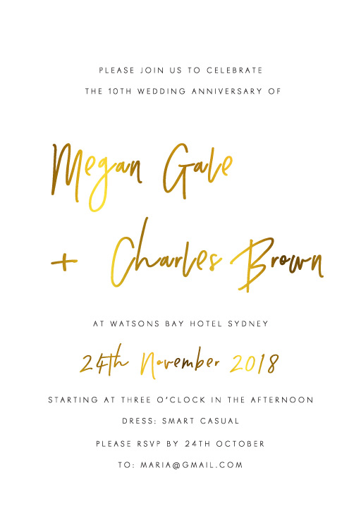 Clair de Lune - Wedding Anniversary Invitations