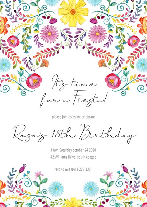 Fiesta Colorida - birthday invitations