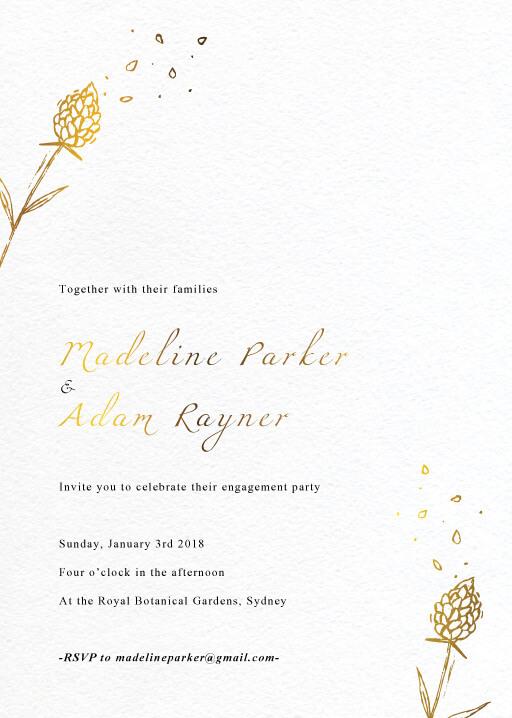 Wedding Petals - Engagement Invitations