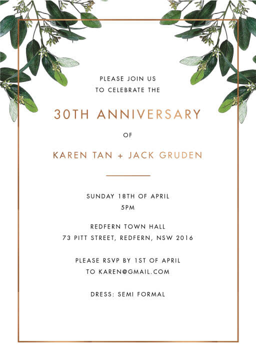 Garden Estate - Wedding Anniversary Invitations