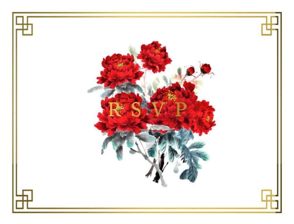 Red Peony - RSVP Cards