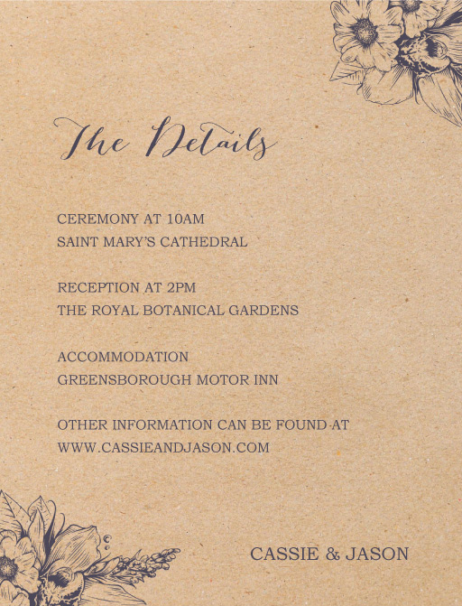 Chic n Rustic - Information Cards
