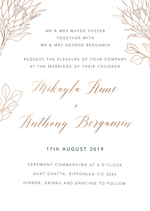 The King Protea - Wedding Invitations