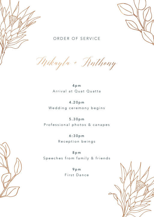 The King Protea - Order Of Service