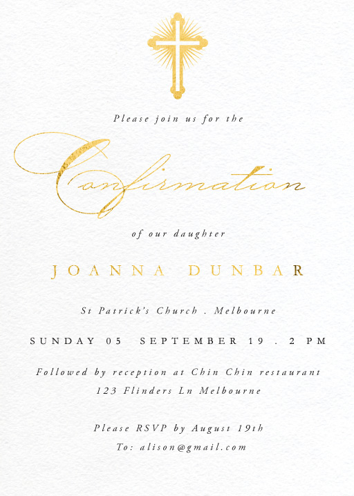 Gold Testament - Confirmation Invitations