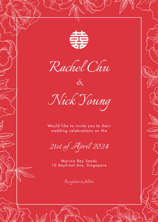 White Ink Camellia - Wedding Invitations