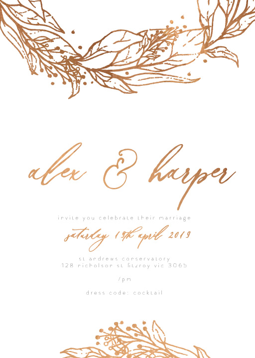 Copper Leaves - Wedding Invitations