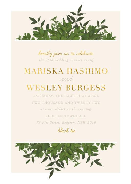 Mod Botanical - Wedding Anniversary Invitations