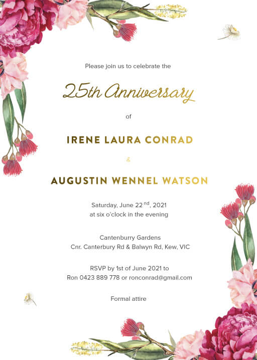 Garden Party - Wedding Anniversary Invitations