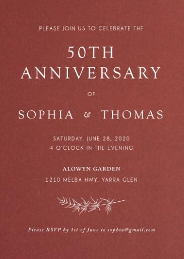 Winter Fire - Wedding Anniversary Invitations