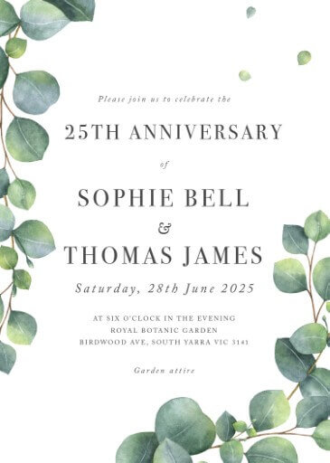 Eucalyptus - Wedding Anniversary Invitations
