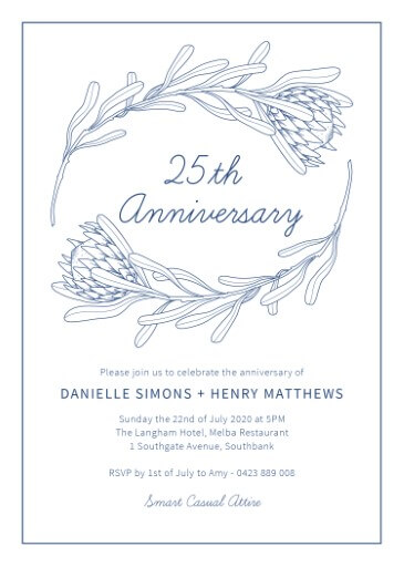 Playful Proteas - Wedding Anniversary Invitations