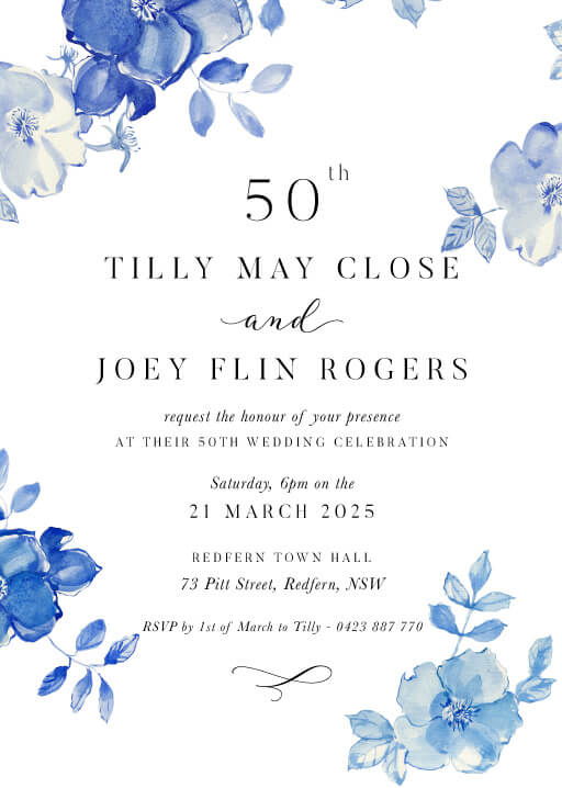 British Floral - Wedding Anniversary Invitations