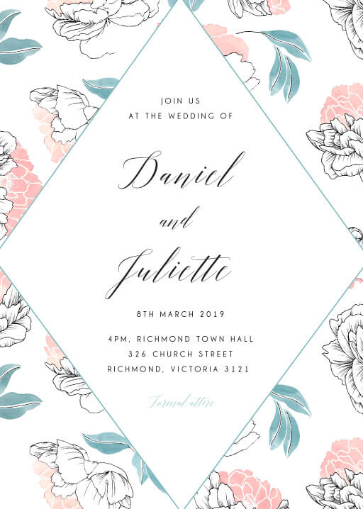 Watercolour Peony - Wedding Invitations