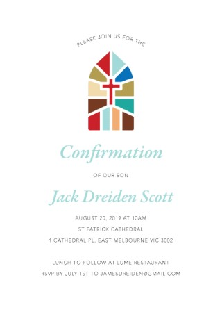 Stained Glass Window - Confirmation Invitations