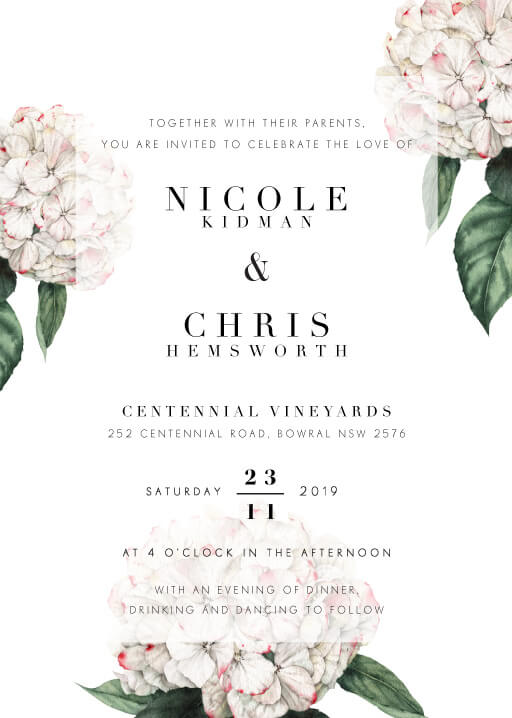 Hydrangea - Wedding Invitations