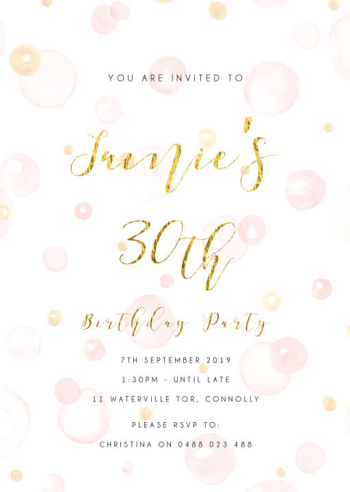 Pink Drops - Birthday Invitations