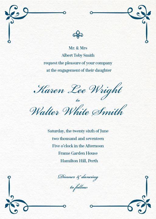 Vintage Cobalt - engagement invitations