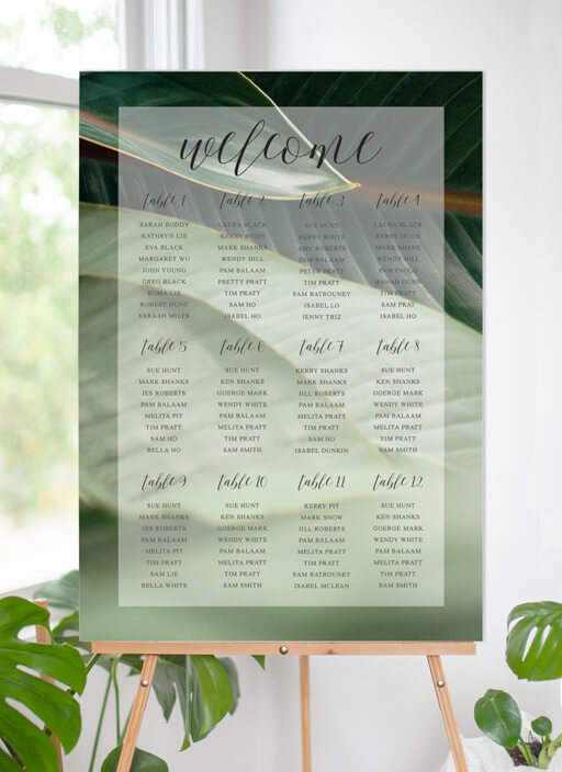 Tropical Leaves - Seating Charts